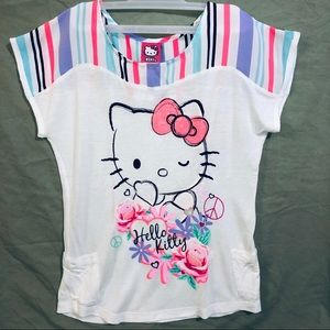 Hello Kitty White Shirt with Colorful Pattern
